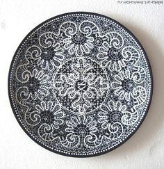 Купить Тарелка Пасхальная Кружевная - темно-синий, кружево, кружевной, точечная роспись, кружево роспись