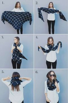 How to tie your blanket scarf in an infinity scarf - ou .- So binden Sie Ihren Deckenschal in einen Infinity-Schal – Outfit.GQ How to tie your blanket scarf in an infinity scarf - Mode Outfits, Casual Outfits, Fashion Outfits, Womens Fashion, Fashion Scarves, Scarf Outfits, Fashion Ideas, Dress Casual, Fashion Tips
