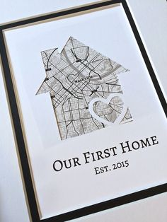 Our First Home- Personalized Home Map Matted Gift- First Home Gift- New House Housewarming Gift- Unique New Home Gift – Gift Ideas First Home Gifts, New Home Gifts, House Gifts, Wedding Vow Art, Wine Gift Baskets, Housewarming Gift Baskets, Basket Gift, Real Estate Gifts, Welcome Home Gifts
