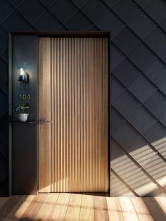 Slate House - Coming soon to Brighton — Austin Maynard Architects Gate Wall Design, House Gate Design, Door Design, Modern Entrance Door, Entrance Doors, Brighton Houses, Flush Doors, Facade Architecture, Modern Exterior