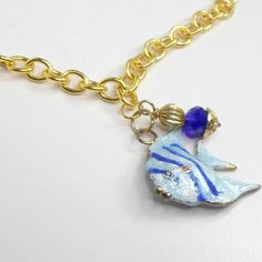Necklace handmade goldtone chain 15 inc enamel blue angelfish crystal by Pat2 #HandmadebyPat2 #Chain