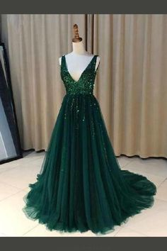 Prom dresses for teens - Dark Green Tulle Prom Dress, Backless V Neck Long Evening Dress, 2018 Prom Gowns – Prom dresses for teens Dark Green Prom Dresses, Prom Dresses For Teens, Beaded Prom Dress, Backless Prom Dresses, Modest Dresses, Formal Dresses, Prom Gowns, Elegant Dresses, Sexy Dresses