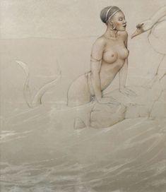 Mermaid by Michael Parkes. Year 1990 Original oil painting on wood. Black mermaid with a swan, so beautiful