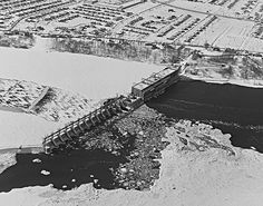 | History of Electricity in Québec | Hydro-Québec. Rivière-des-Prairies generating station and its former spillway, 1965.