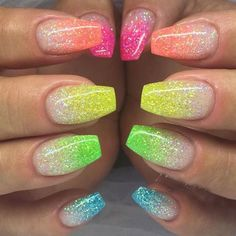 6 Color DIY Beauty Glitter Phosphor Glow Nail Art Fluorescent Luminous Neon Powder , for Nail Decorations Stammes Nagel Designs French Acrylic Nails, Best Acrylic Nails, Acrylic Nails Coffin Glitter, Glow Nails, Diy Nails, Stylish Nails, Trendy Nails, Angel Nails, Nagellack Design