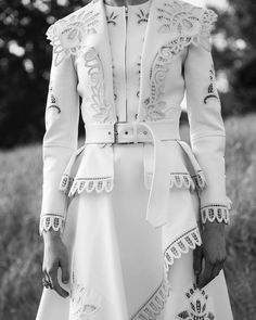 """c9df2ff7ff4 Alexander McQueen on Instagram  """"A Victorian inspired ivory jacket with  graphic broderie anglaise details"""