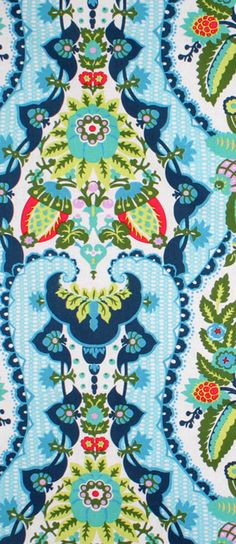Amy Butler Harriet's Kitchen Sugar Fabric with turquoise, navy, coral and green design $9.35 per yard