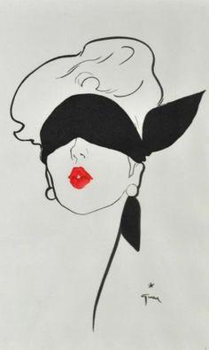 "Illustration by René Gruau (1909-2004), Blindfolded Woman, ""Le Rouge Baiser"" advertisement."