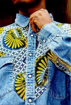 studioinn:    Bukki Label Denim shirt with African Fabric Detailing