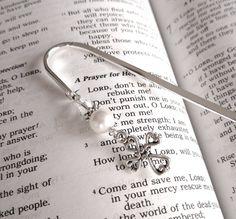 Religious Cross silver and swarovski crystal pearl bookmark by heysista, $10.00