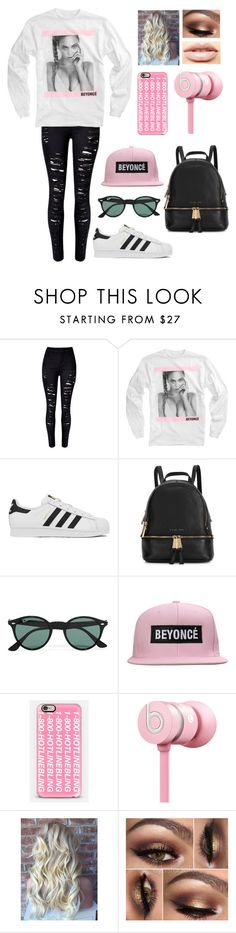 """""""I sneezed on the beat and the beat got sicker"""" by blessed-with-beauty-and-rage ❤ liked on Polyvore featuring adidas, Michael Kors, Ray-Ban, Casetify, Nicki Minaj, LASplash, women's clothing, women, female and woman"""