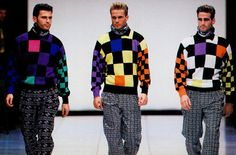 Versace f/w 1991 featuring from left to right Carlos Lozano, Scott Kuhagen & Kevin Clifford