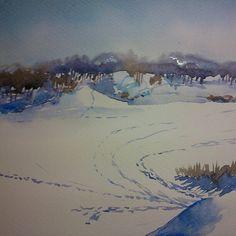 Зима, февраль #watercolour, #art, #winter