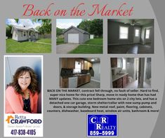 Missouri Real Estate, Baseboard Heating, Sump Pump, 2nd City, Baseboards, Built In Storage, Hard To Find, Metal Roof, One Bedroom