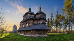 The wooden church of St. Michael the Archangel, built in 1754, in Komarno, Ukraine