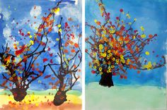 2nd Grade made these fall three paintings using a straw, paintbrush, and q-tip.  Materials: 9″x12″ watercolor paper Pencils Paper towels Blue, green, yellow, and brown watercolor paint…