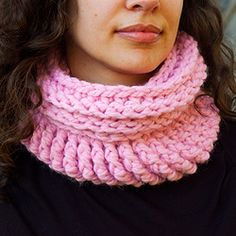 A double sided pink snood/cowl