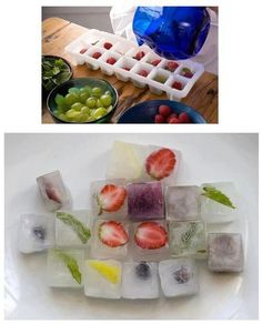 fruit and such in ice cubes!