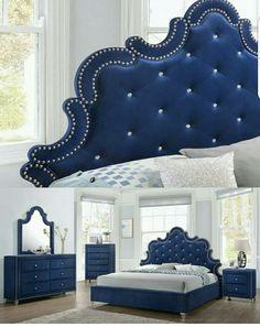 Bed room blue Bed Headboard Design, Master Bedroom Design, Headboards For Beds, Home Decor Bedroom, Modern Bedroom, Bed Furniture, Furniture Design, Indian Bedroom Design, Bed Back Design