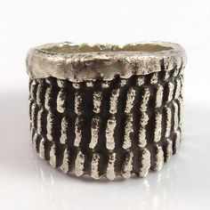 Sterling Silver Ring with a Tufa Cast Corn Design. Ring Size: 9.5