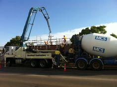 Concrete trucks and pump