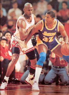 Michael Jordan wearing the Air Jordan V...hey it's Magic too...