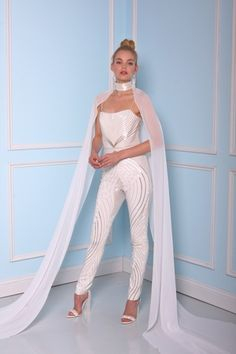 Christian Siriano Square Jumpsuit in Beaded Embroidery | KleinfeldBridal.com