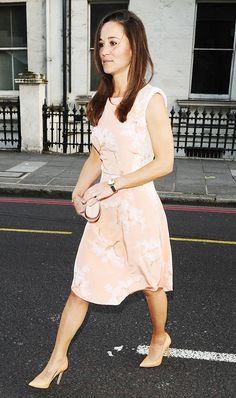 Pippa Middleton in a Tabitha Webb floral shift dress and nude heels