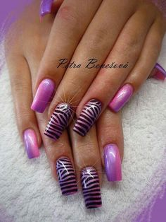 Love zebra in purple. Diy Nail Designs, Colorful Nail Designs, Crazy Nails, Fancy Nails, Fabulous Nails, Perfect Nails, French Nails Glitter, Nails And Beyond, Nailart