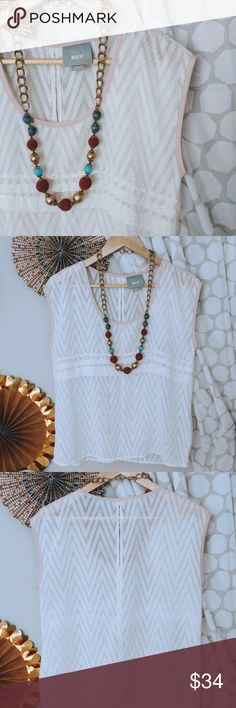 """EUC Maeve Ivory Sheer Sleeveless Blouse size S Sheer chevron detail blouse for Anthropologie. Textured detail fabric with keyhole back opening.  bust: 19"""" shoulder: 19"""" length: 23.5"""" Anthropologie Tops Blouses"""