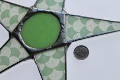 Minty Fresh- 9 inch jadeite green lacquered paper on glass with jadeite cabochon center  kurtknudsen.etsy.com