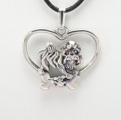 """Sterling Silver Havanese Pendant w/18"""" Sterling Chain by Donna Pizarro fr Animal Whimsey Collection of Fine Dog Jewelry and Havanese Jewelry"""