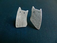 cat earrings silver cut out minimal jewelry stud kitten post brushed Asymmetrical earrings cute cat