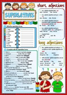Superlative - revision Language: English Grade/level: pre-intermediate School subject: English as a Second Language (ESL) Main content: superlatives Other contents: English Teaching Materials, Teaching English Grammar, English Grammar Worksheets, Grammar Book, Grammar Activities, English Activities, English Lessons, Learn English, English Tips