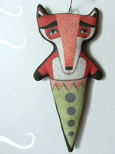 Rotfuchs Ornament--Original Volkskunst Puppe--gedruckt, genäht und gefüllt Stoff https://www.etsy.com/shop/cartbeforethehorse
