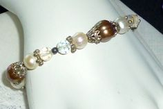 VTG BAROQUE COPPER-WHITE PEARL-AB FACETED CRYSTAL-SILVER BEAD STRETCH BRACELET #Unbranded