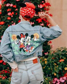 I got 99 Ears, but these ones will forever be my favorites ❤️🖤 . These classic Minnie ears will always be my favorite because they… Cute Disney Outfits, Disneyland Outfits, Cute Outfits, Painted Denim Jacket, Painted Jeans, Disney Style, Disney Disney, Disney Inspired Fashion, Painted Clothes