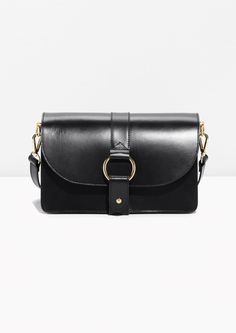 & Other Stories image 1 of Leather Crossover Bag  in Black