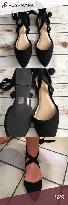 Lace up black flats Brand new! Feels like a velvet material. Runs true to size. No bigger Shoes Flats & Loafers