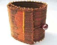 Embroidered bangle bracelet fibre art you wear by TorsDuce on Etsy