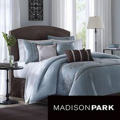 Bedding from Rooms To Go. Affordable bedding sets with sheets, pillowcases, comforters & coverlets. Browse a variety of colors and styles of bed linens in full, queen, and king sizes. Dream Bedroom, Home Bedroom, Master Bedroom, Bedroom Decor, Bedroom Ideas, Beige Bed Linen, Queen, Comforter Sets, Blue Comforter