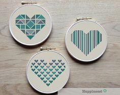 geometric modern cross stitch pattern heart, set of valentine hearts, PDF pattern ** instant down Cross Stitching, Cross Stitch Embroidery, Embroidery Patterns, Embroidery Hoops, Crochet Patterns, Geometric Heart, Cross Stitch Heart, Modern Cross Stitch Patterns, Heart Patterns