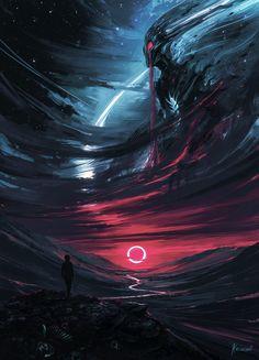 "Echoes Of Fantasy — st-just: The Omen by Alena Aenami ""It was. Echoes Of Fantasy — st-just: The Omen by Alena Aenami ""It was. Dark Fantasy Art, Fantasy Artwork, Demon Artwork, Digital Art Fantasy, Science Fiction, Arte Horror, Horror Art, Yuumei Art, Arte Obscura"