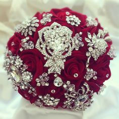 Red Jewelled Bouquet --- Roses, with only some broaches. Tasteful