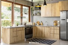 The popularity of wooden kitchen sets in the interior world began to steal the attention since the Kitchen Furniture, Kitchen Interior, Wooden Kitchen Set, Small Space Interior Design, Kitchen Models, Kitchen Cabinetry, Home Kitchens, Pan Set, Bakeware