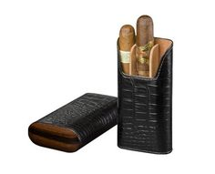 """The """"Show Band"""" 3 Cigar Case - Croco Pattern Black and Macassar Ebony 