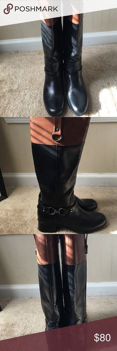 Riding Boots  Black And Brown Leather Collyer Riding Boots ✨ BRAND NEW. NO MARKS NO SCUFFS Bandolino Shoes Winter & Rain Boots