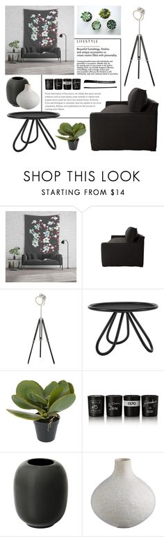 Living room - Industrial Black by artbyjwp on Polyvore featuring interior, interiors, interior design, home, home decor, interior decorating, Jayson Home, Abigail Ahern, Bella Freud and living room