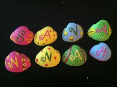 Simply paint seashells with child's name to help learn colors, letter, name. (Great birthday gift!)