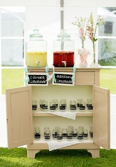 12 Delightful Drink Station Ideas: there's nothing more welcoming than arriving to your very own labeled cup or mason jar